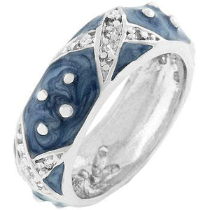 Marbled Blue Enamel Ring - Jewelry Xoxo