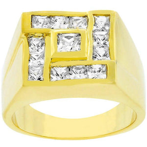 Mens Pave Shiny Goldtone Ring - Jewelry Xoxo