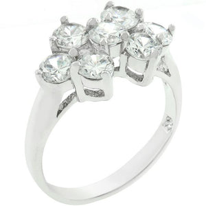 Round Cubic Zirconia Cluster Ring - Jewelry Xoxo