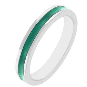 Green Enamel Eternity Ring - Jewelry Xoxo