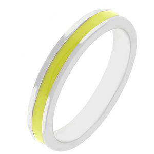 Yellow Enamel Eternity Ring - Jewelry Xoxo