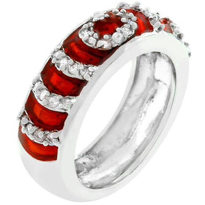 Garnet Enamel Ripple Ring - Jewelry Xoxo