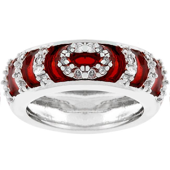 Garnet Enamel Ripple Ring