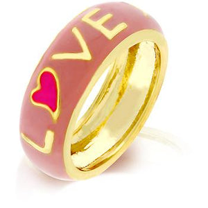 Love Is Pink Enamel Ring - Jewelry Xoxo