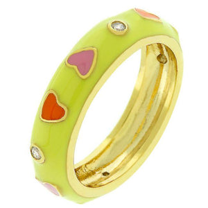 Sorbet Enamel Hearts Ring - Jewelry Xoxo
