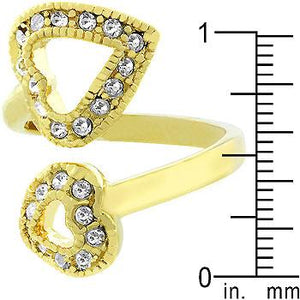 Dual Pave Hearts Ring - Jewelry Xoxo