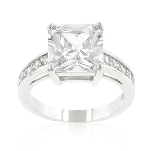 Classic Princess Cut Raised Pave Engagement Ring - Jewelry Xoxo