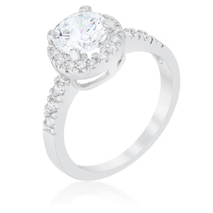 Solitaire Engagement Ring With Pave Halo - Jewelry Xoxo