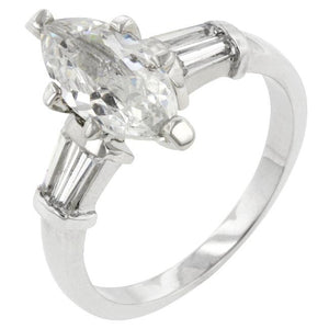 Rhodium Plated Marquise Centerpiece Ring - Jewelry Xoxo