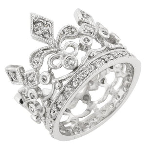 Cubic Zirconia Crown Eternity Ring - Jewelry Xoxo