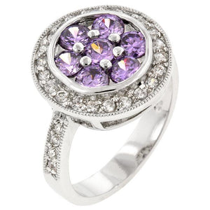 Amethyst Purple Lily Ring - Jewelry Xoxo