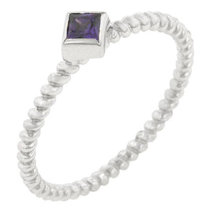 Twisted Petite Amethyst Solitaire Ring - Jewelry Xoxo