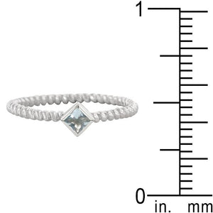 Twisted Petite Blue Topaz Solitaire Ring - Jewelry Xoxo