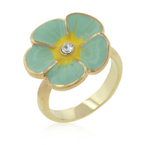 Light Blue Enamel Floral Ring - Jewelry Xoxo
