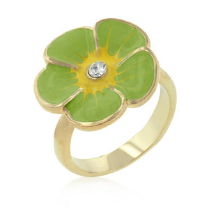 Light Green Enamel Floral Ring - Jewelry Xoxo