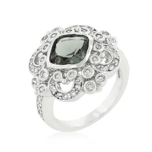 Elegant Smokey Crest Ring - Jewelry Xoxo