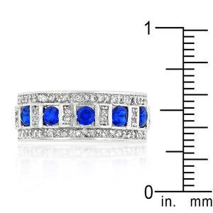 Blue and Clear Encrusted Rhodium Plated Ring - Jewelry Xoxo