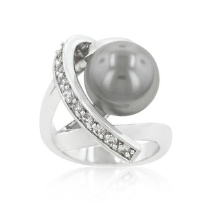 Rhodium Plated Knotted Simulated Pearl Ring - Jewelry Xoxo