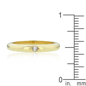 Solitaire Cubic Zirconia Golden Wedding Band - Jewelry Xoxo