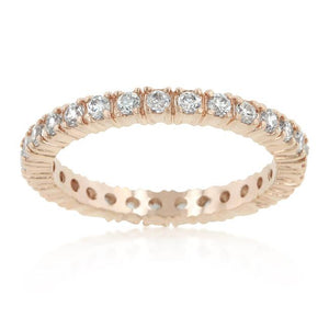 Rose Gold Finish Cubic Zirconia Eternity Band - Jewelry Xoxo