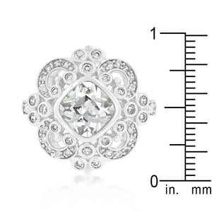 Elegant Clear Cubic Zirconia Crest Ring - Jewelry Xoxo