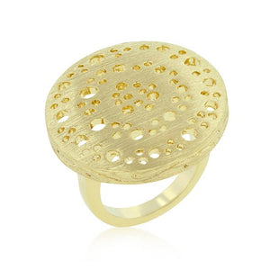 Textured Golden Saucer Ring - Jewelry Xoxo
