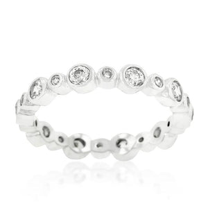 Alternating Bezel Linked Cubic Zirconia Eternity Band - Jewelry Xoxo