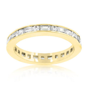 Alternating Cubic Zirconia Eternity Band in Goldtone Finish - Jewelry Xoxo