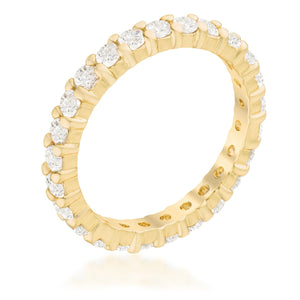 Goldtone Cubic Zirconia Eternity Band - Jewelry Xoxo