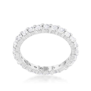Cubic Zirconia Sterling Silver Eternity Band - Jewelry Xoxo