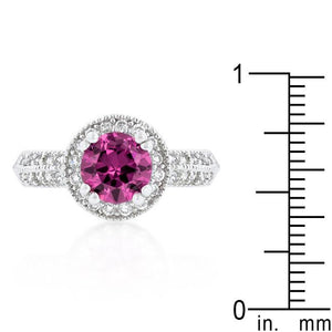 Fuchsia Halo Engagement Ring - Jewelry Xoxo