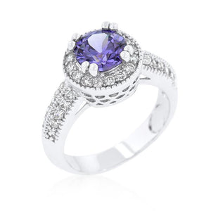 Dark Purple Halo Engagement Ring - Jewelry Xoxo