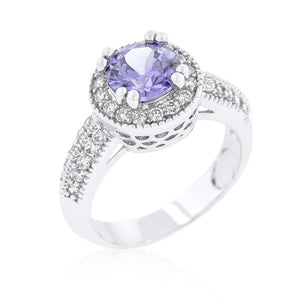Lavender Halo Engagement Ring - Jewelry Xoxo