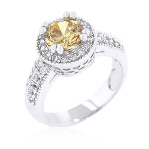 Champagne Halo Engagement Ring - Jewelry Xoxo