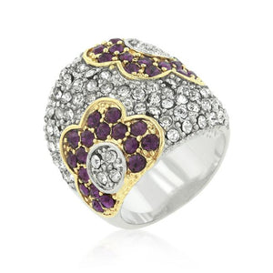 Purple and Clear Crystal Rose Ring - Jewelry Xoxo