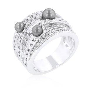 Gray Pearl Cocktail Ring - Jewelry Xoxo