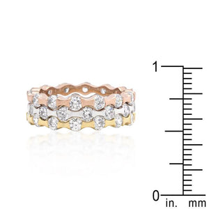 Tri-tone Stackable Rings - Jewelry Xoxo
