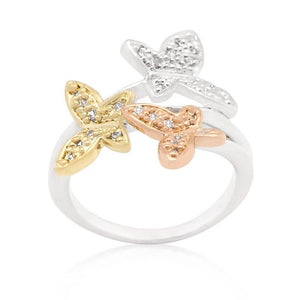 Triple Butterfly Cubic Zirconia Ring - Jewelry Xoxo