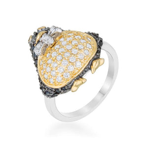 Jet Black Cubic Zirconia Penguin Ring - Jewelry Xoxo
