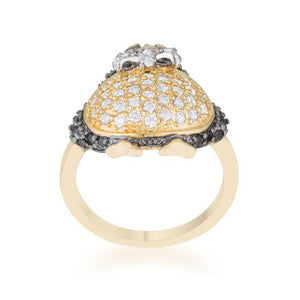 Jet Black Cubic Zirconia Penguin Fashion Ring - Jewelry Xoxo