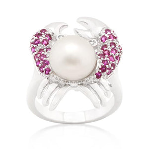 Pearl Crab Cubic Zirconia Ring - Jewelry Xoxo