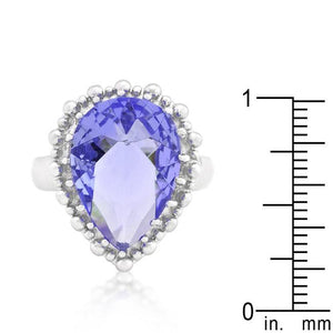 Solitaire Light Purple Cocktail Ring - Jewelry Xoxo