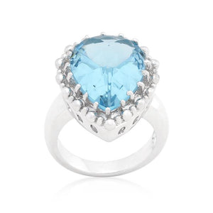 Solitaire Blue Topaz Cocktail Ring - Jewelry Xoxo