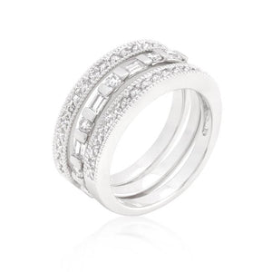 Simple Cubic Zirconia Ring Set - Jewelry Xoxo