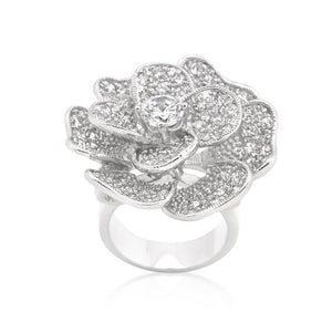 Large Flower Cubic Zirconia Cocktail Ring - Jewelry Xoxo