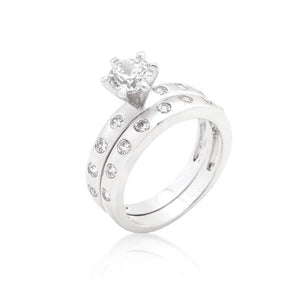 Bezel Set Round Cut Bridal Ring Set - Jewelry Xoxo
