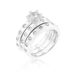 Bezel Set Engagement Ring Set - Jewelry Xoxo
