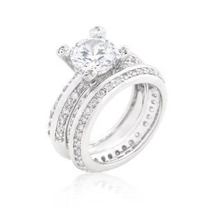Cubic Zirconia Round Cut Pave Ring Set - Jewelry Xoxo