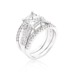 Princess Cut Cubic Zirconia Triple Bridal Set - Jewelry Xoxo