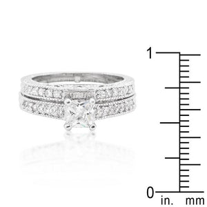 Princess Cut Filigree Bridal Ring Set - Jewelry Xoxo